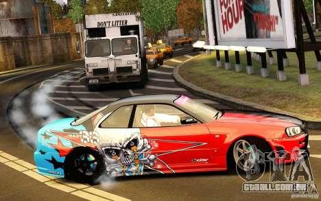 Nissan Skyline R34 Evil Empire para GTA 4 vista de volta