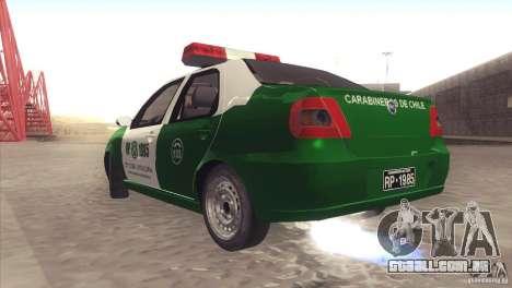 Fiat Siena Carabineros De Chile para GTA San Andreas vista direita