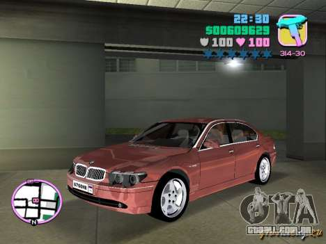 BMW 760 Li para GTA Vice City deixou vista