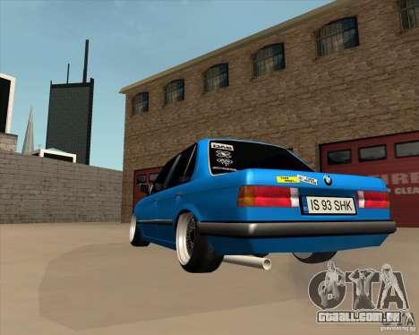BMW E30 325e Duscchen para GTA San Andreas traseira esquerda vista