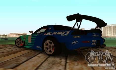 Mazda RX7 Falken edition para GTA San Andreas traseira esquerda vista