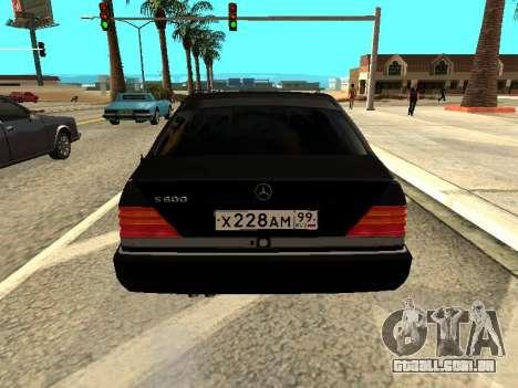 Mercedes-Benz w140 s600 para GTA San Andreas traseira esquerda vista