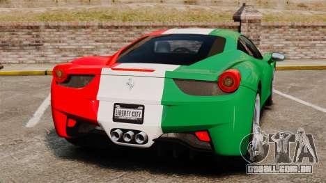 Ferrari 458 Italia 2010 Italian para GTA 4 traseira esquerda vista