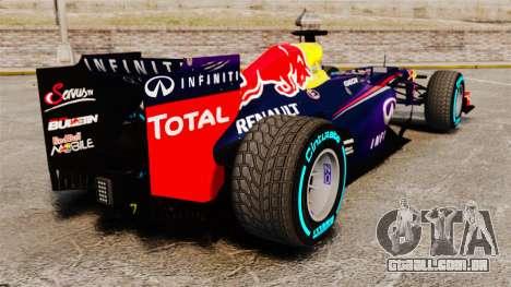 Carro, Red Bull RB9 v1 para GTA 4 traseira esquerda vista