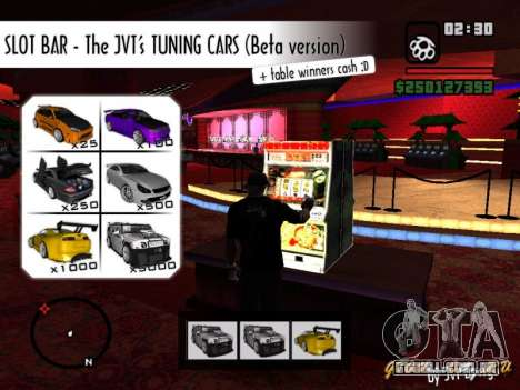 Slot BAR The JVTs tuning cars para GTA San Andreas