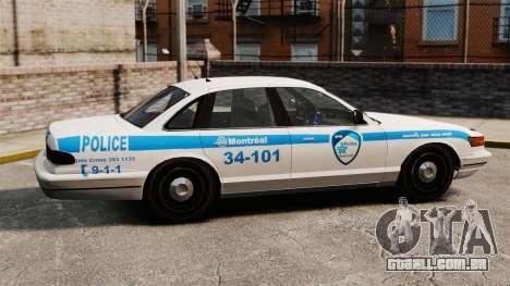 Montreal Polícia v1 para GTA 4 esquerda vista