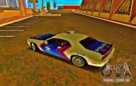 Dodge Challenger Indonesian Police para GTA San Andreas traseira esquerda vista