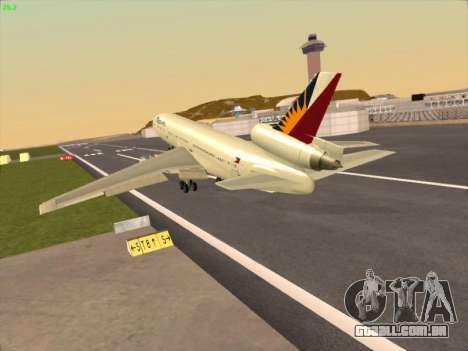 McDonell Douglas DC-10 Philippines Airlines para GTA San Andreas traseira esquerda vista