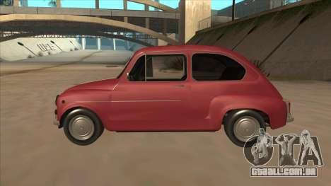 Zastava 750 Fico para GTA San Andreas traseira esquerda vista