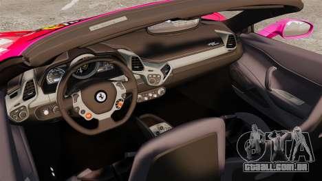 Ferrari 458 Spider Pink Pistol 027 Gumball 3000 para GTA 4 vista interior