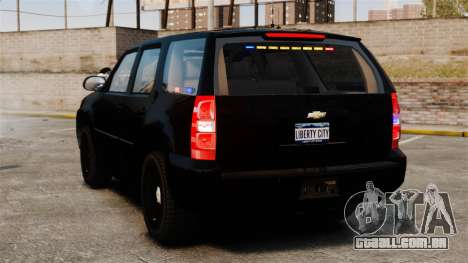 Chevrolet Tahoe 2008 Unmarked ELS para GTA 4 traseira esquerda vista