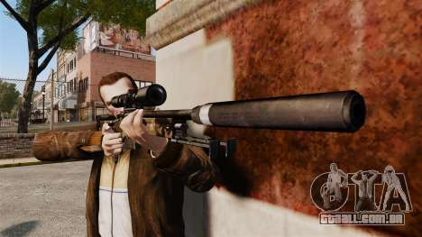 Rifle de sniper L115A1 AW com um silenciador v10 para GTA 4