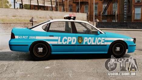 LCPD Police Patrol para GTA 4 esquerda vista