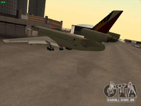 McDonell Douglas DC-10 Philippines Airlines para GTA San Andreas vista traseira