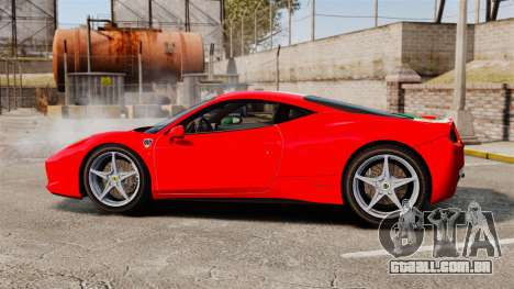 Ferrari 458 Italia 2010 Italian para GTA 4 esquerda vista