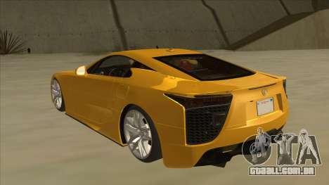 Lexus LFA Autovista 2010 para GTA San Andreas vista traseira