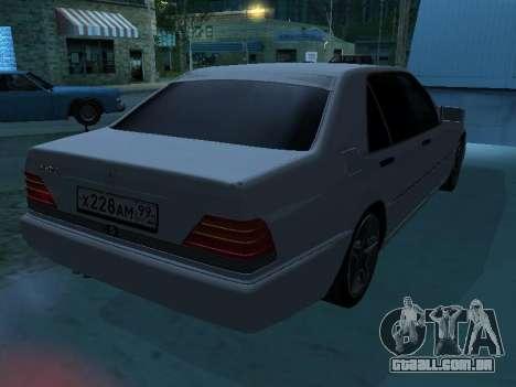 Mercedes-Benz w140 s600 para GTA San Andreas interior