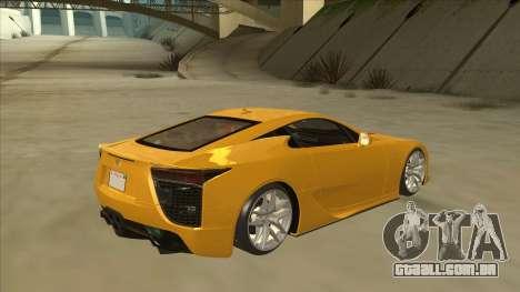 Lexus LFA Autovista 2010 para GTA San Andreas vista direita