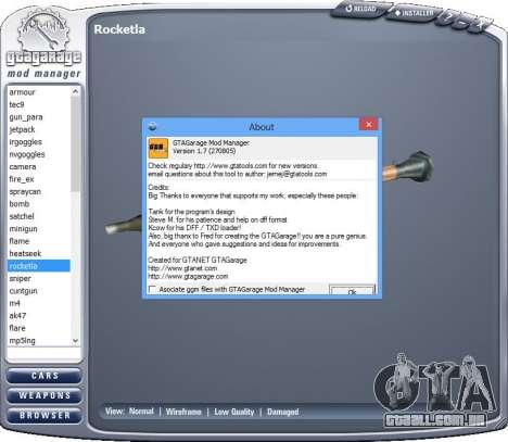 GTA Garage Mod Manager version 1.7 (270805) para GTA San Andreas terceira tela
