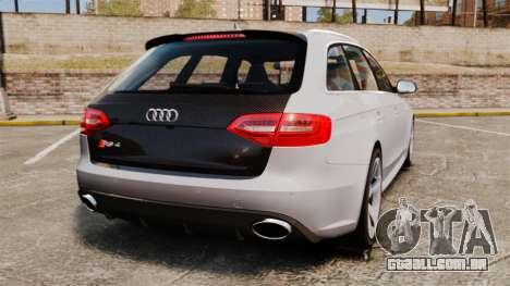 Audi RS4 Avant 2013 Sport v2.0 para GTA 4 traseira esquerda vista