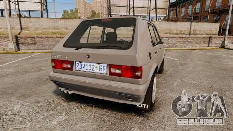 Volkswagen Citi Golf Velociti 2008 para GTA 4 traseira esquerda vista