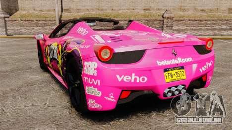 Ferrari 458 Spider Pink Pistol 027 Gumball 3000 para GTA 4 traseira esquerda vista