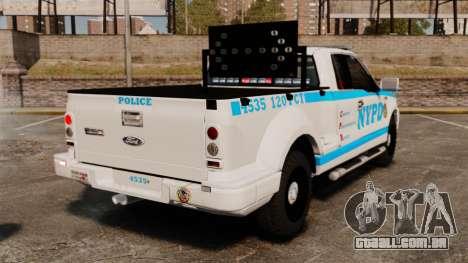 Ford F-150 v3.3 NYPD [ELS & EPM] v1 para GTA 4 traseira esquerda vista