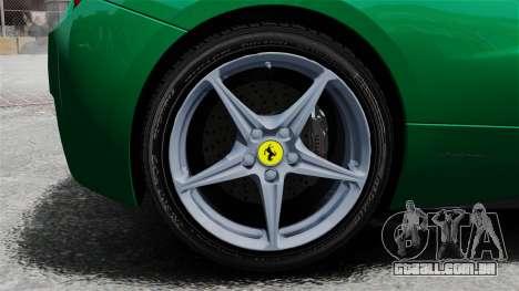 Ferrari 458 Italia 2010 Italian para GTA 4 vista de volta
