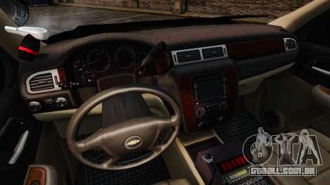 Chevrolet Tahoe 2008 Unmarked ELS para GTA 4 vista de volta