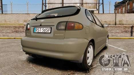 Daewoo Lanos FL 2001 para GTA 4 traseira esquerda vista