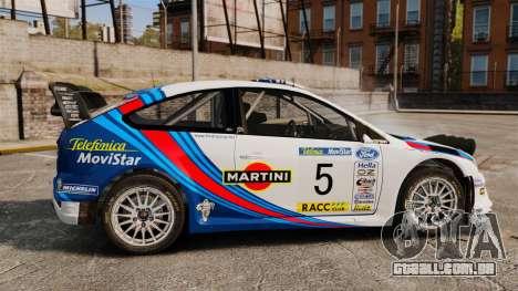 Ford Focus RS Martini WRC para GTA 4 esquerda vista