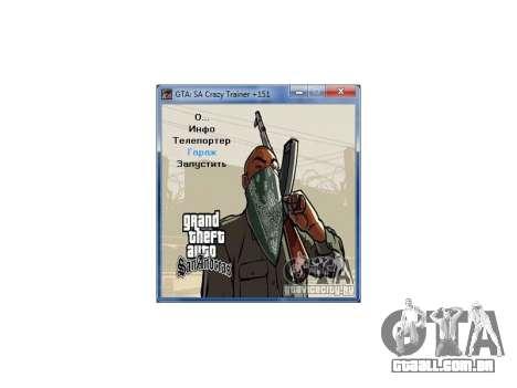 GTA San Andreas Crazy Trainer 151 v2.0 para GTA San Andreas