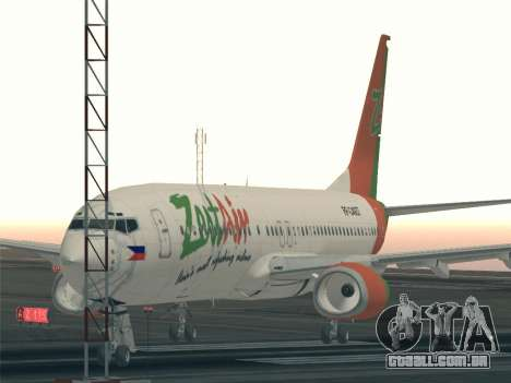 Boeing 737-800 Zest Air para GTA San Andreas vista superior