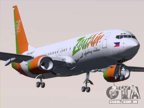 Boeing 737-800 Zest Air para GTA San Andreas vista inferior