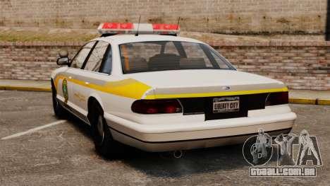 Polícia Quebec para GTA 4 traseira esquerda vista