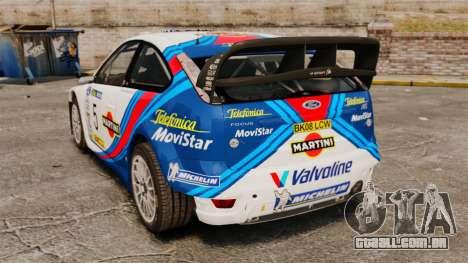 Ford Focus RS Martini WRC para GTA 4 traseira esquerda vista