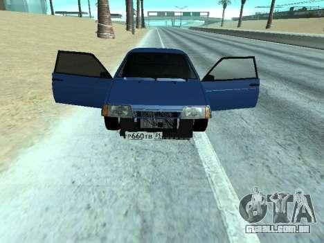 Azul de uma dúzia de VAZ 2108 para GTA San Andreas traseira esquerda vista