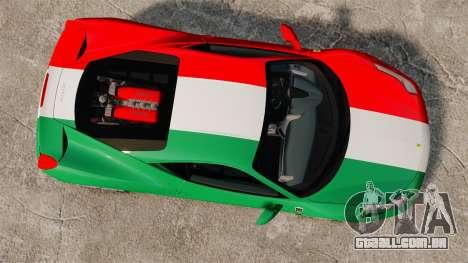 Ferrari 458 Italia 2010 Italian para GTA 4 vista direita