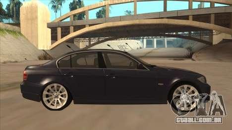 BMW 330 e90 para GTA San Andreas traseira esquerda vista