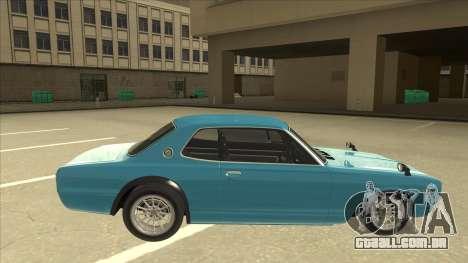 Nissan Skyline 2000 GT-R RB26DETT Black Revel para GTA San Andreas traseira esquerda vista
