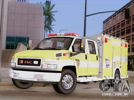 GMC C4500 Topkick BCFD Rescue 4 para vista lateral GTA San Andreas