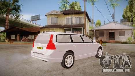Volvo V70 Unmarked Police para GTA San Andreas vista direita
