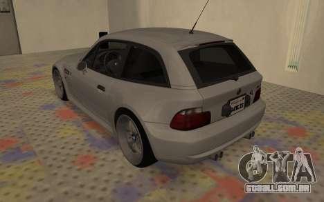 BMW Z3 M Power 2002 para GTA San Andreas traseira esquerda vista