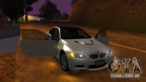 BMW M3 E92 para vista lateral GTA San Andreas