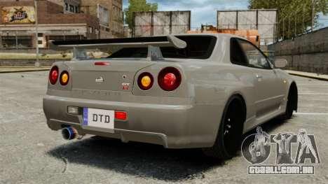 Nissan Skyline R34 para GTA 4 traseira esquerda vista