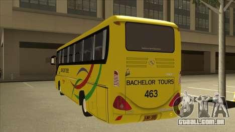 Kinglong XMQ6126Y - Bachelor Tours 463 para GTA San Andreas vista traseira