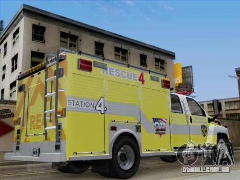 GMC C4500 Topkick BCFD Rescue 4 para GTA San Andreas vista interior