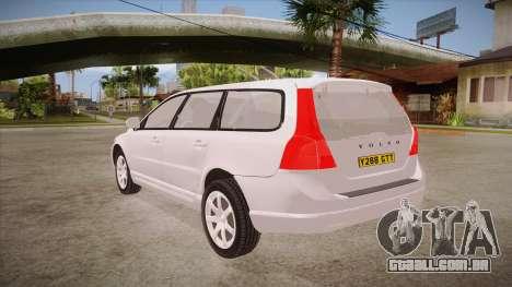 Volvo V70 Unmarked Police para GTA San Andreas traseira esquerda vista