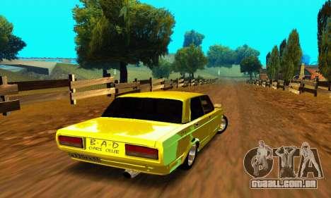VAZ 2107 VIP para GTA San Andreas traseira esquerda vista