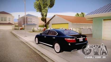 Lexus LS 600h L para GTA San Andreas traseira esquerda vista